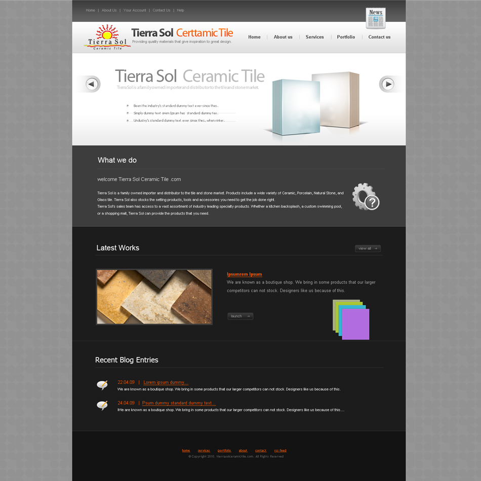 Web page design contests tierra sol ceramic tile web site web page design by aesthetic art entry no 8 in the web page dailygadgetfo Image collections
