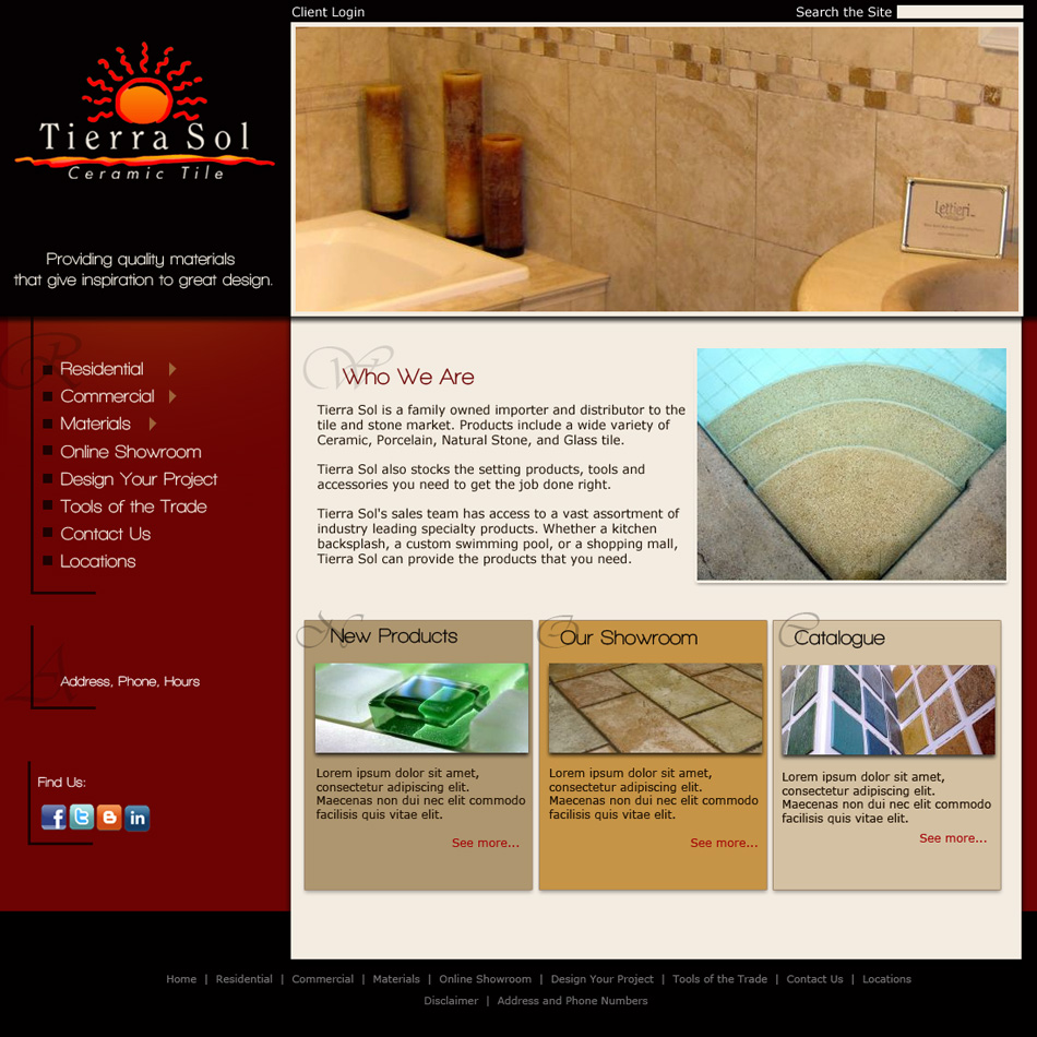 Web Page Design by jensen - Entry No. 15 in the Web Page Design Contest Tierra Sol Ceramic Tile - Web Site.