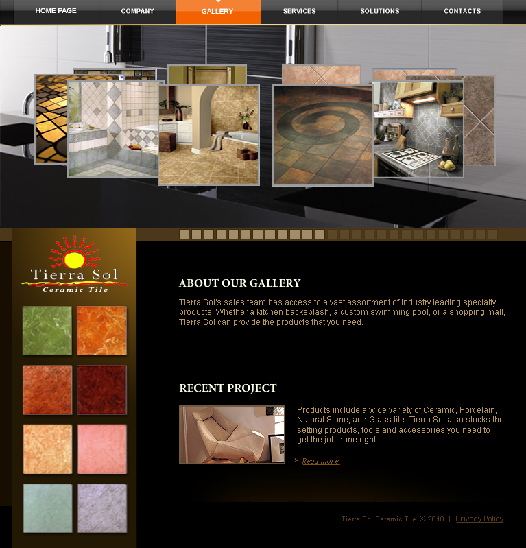 Web Page Design by tsyrette - Entry No. 22 in the Web Page Design Contest Tierra Sol Ceramic Tile - Web Site.