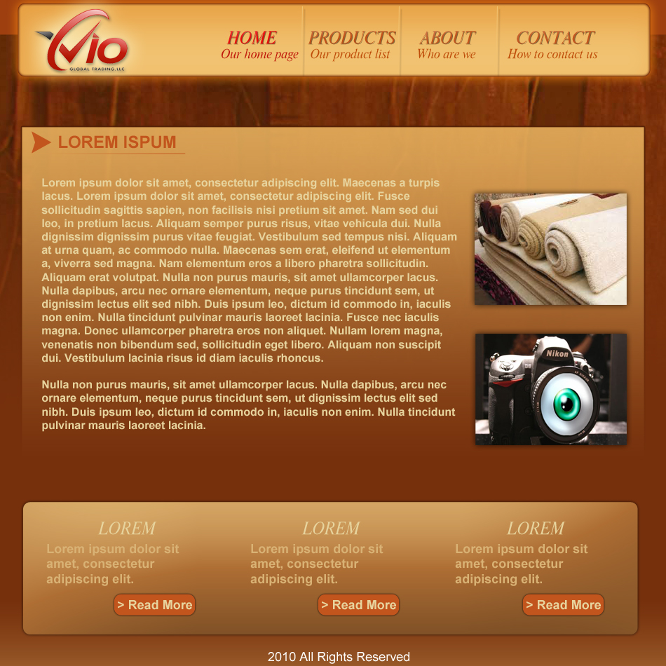 Web Page Design by Pavl0s - Entry No. 19 in the Web Page Design Contest vioglobaltrading.com.
