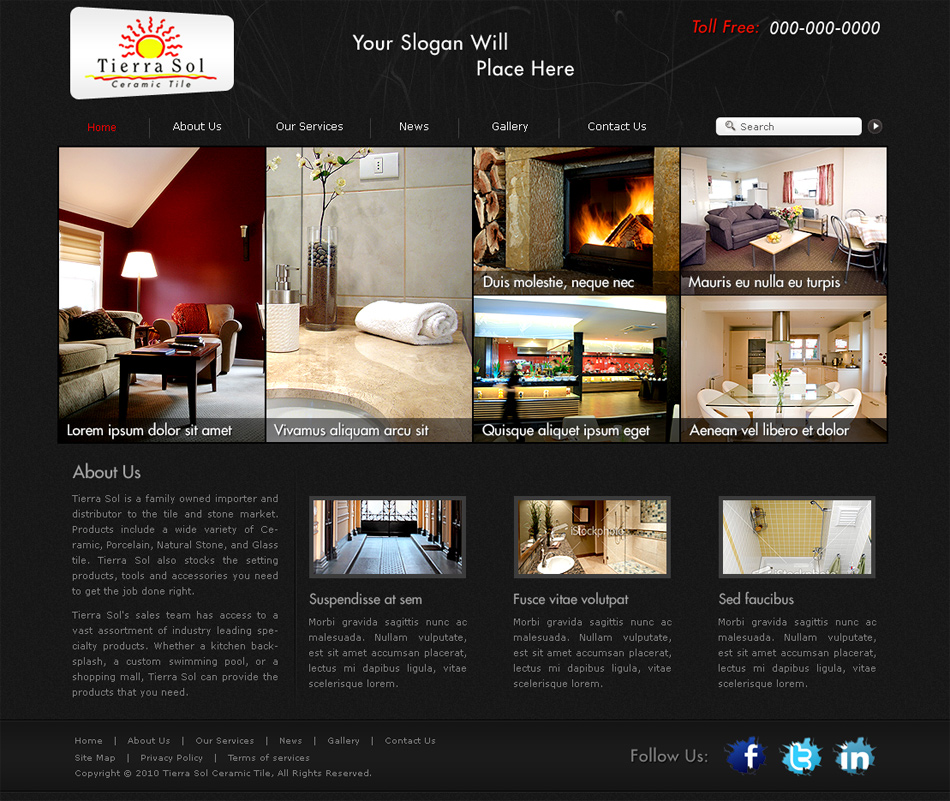 Web Page Design by cre8ivedezigner - Entry No. 27 in the Web Page Design Contest Tierra Sol Ceramic Tile - Web Site.