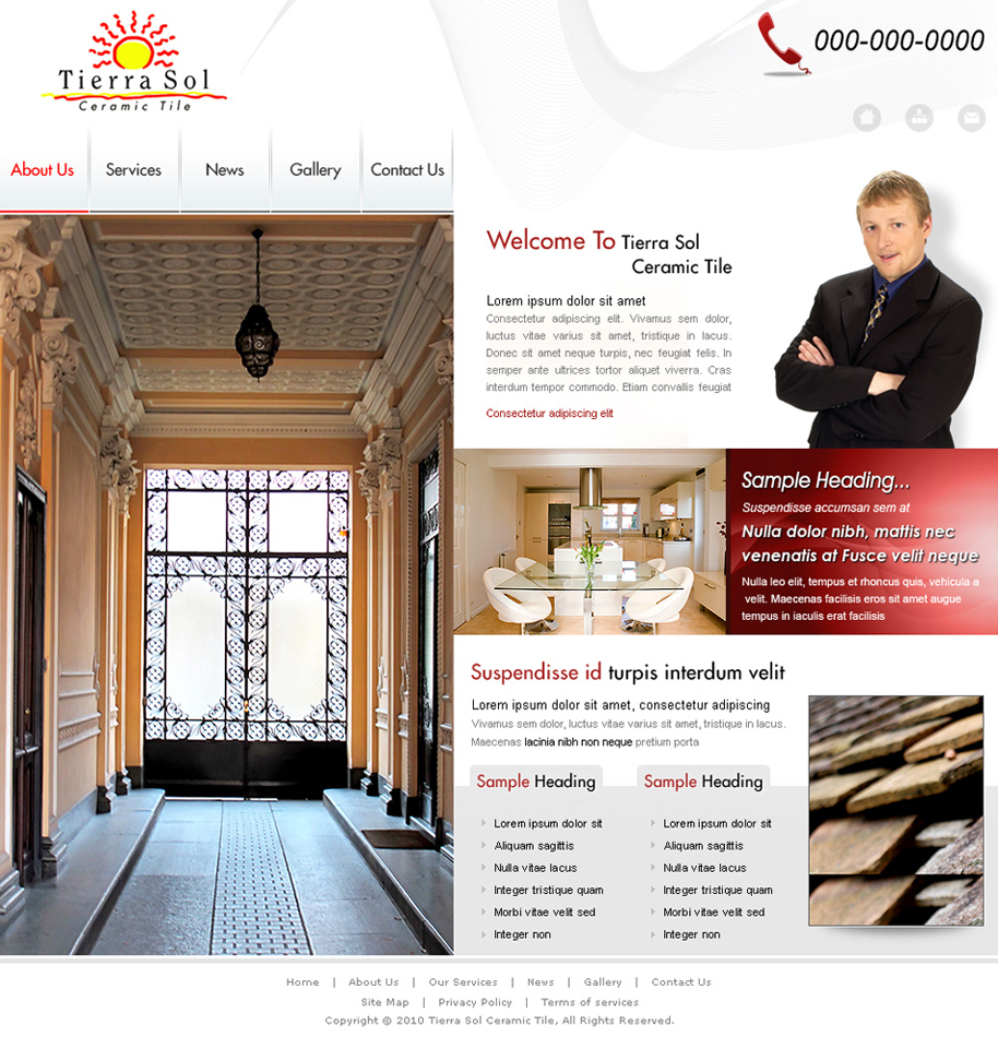 Web Page Design by cre8ivedezigner - Entry No. 29 in the Web Page Design Contest Tierra Sol Ceramic Tile - Web Site.