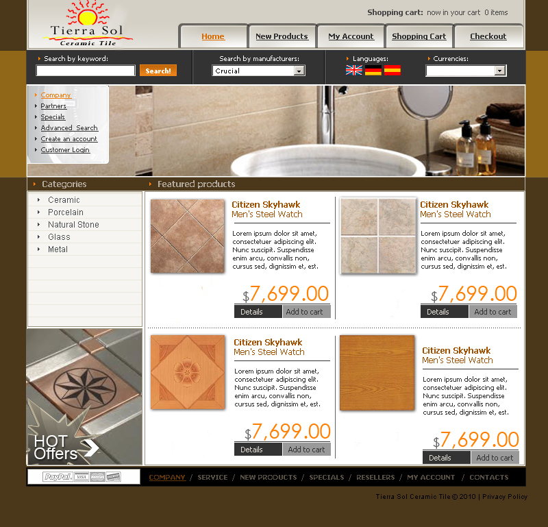 Web Page Design by tsyrette - Entry No. 35 in the Web Page Design Contest Tierra Sol Ceramic Tile - Web Site.