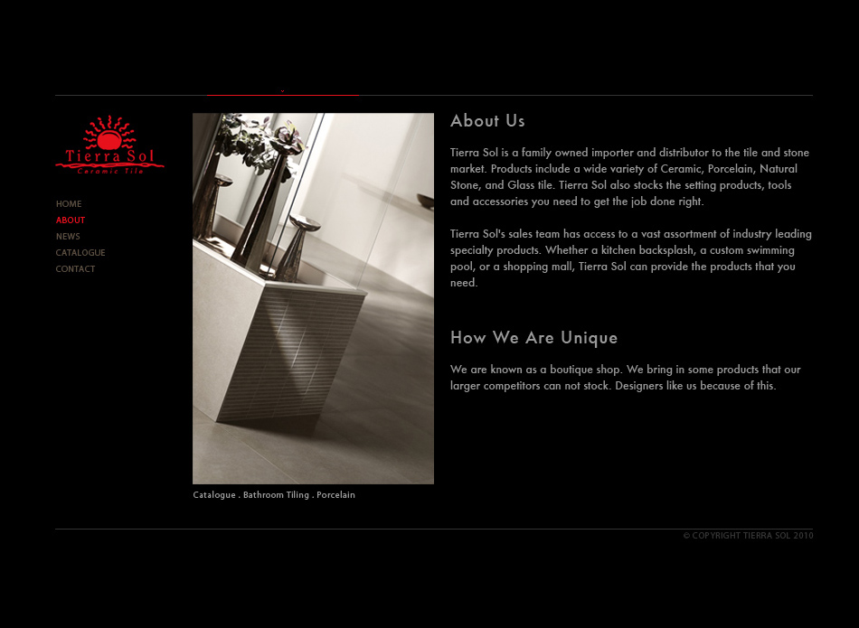 Web Page Design by tianstudio - Entry No. 38 in the Web Page Design Contest Tierra Sol Ceramic Tile - Web Site.
