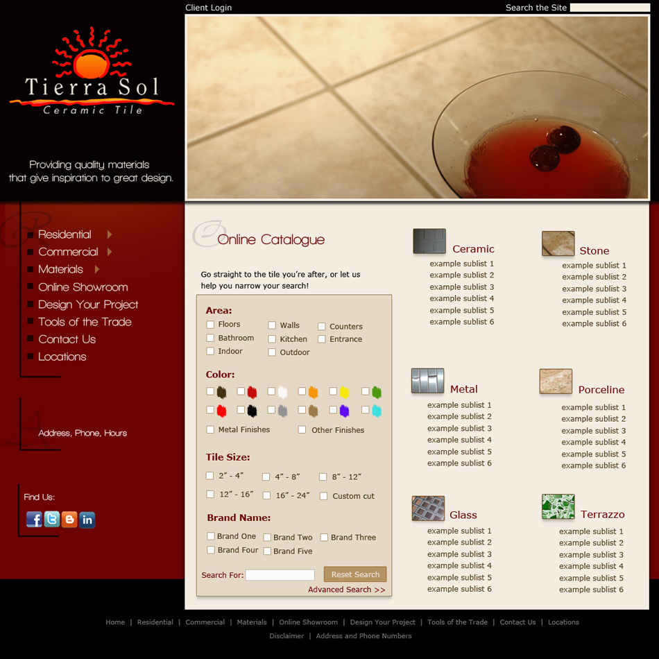 Web Page Design by jensen - Entry No. 44 in the Web Page Design Contest Tierra Sol Ceramic Tile - Web Site.