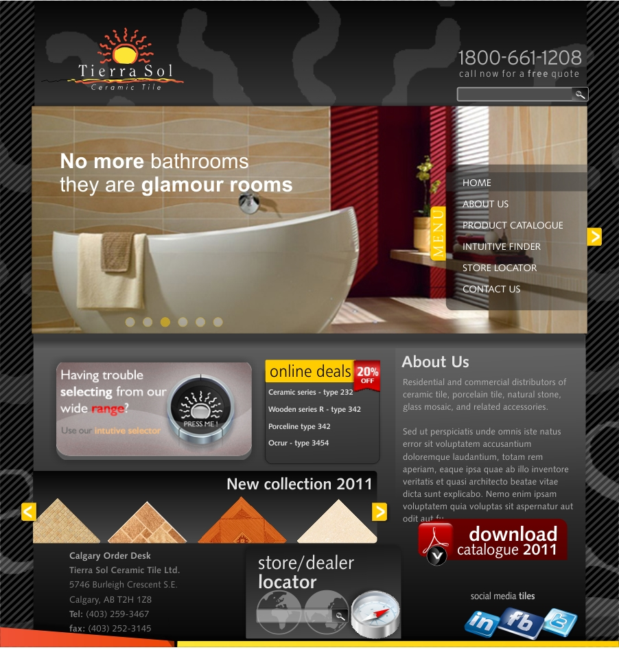 Web Page Design by haricane - Entry No. 61 in the Web Page Design Contest Tierra Sol Ceramic Tile - Web Site.