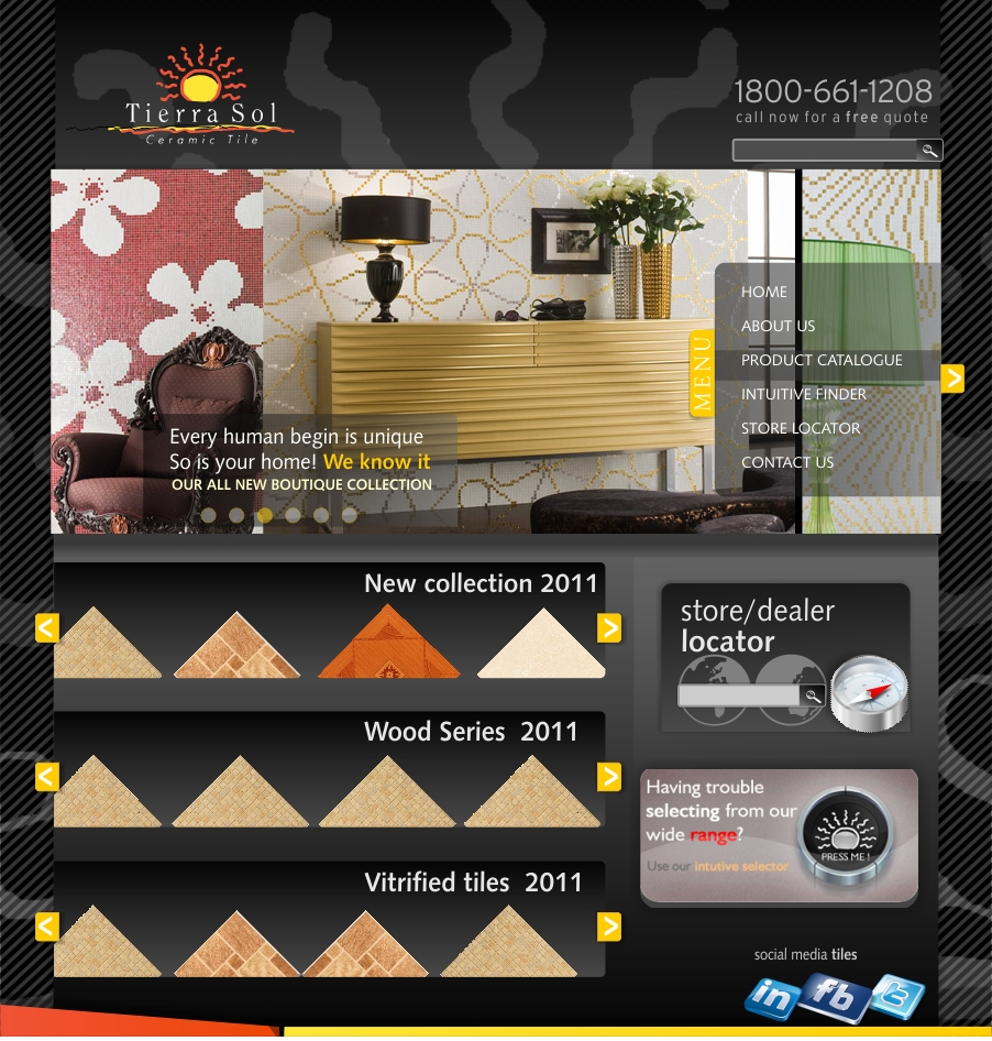 Web Page Design by haricane - Entry No. 68 in the Web Page Design Contest Tierra Sol Ceramic Tile - Web Site.