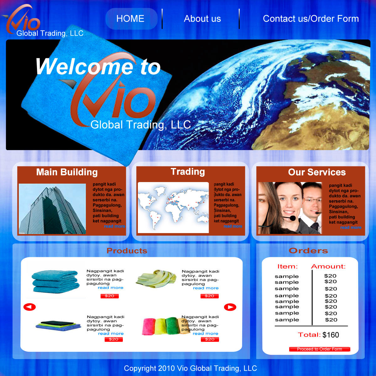 Web Page Design by devil_art213 - Entry No. 46 in the Web Page Design Contest vioglobaltrading.com.