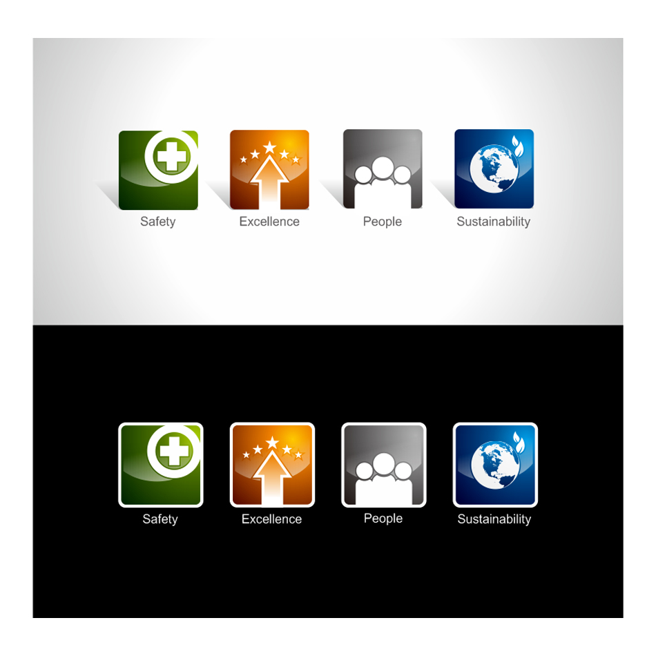 Button & Icon Design by LukeConcept - Entry No. 29 in the Button & Icon Design Contest Set of 4 Values Icons.