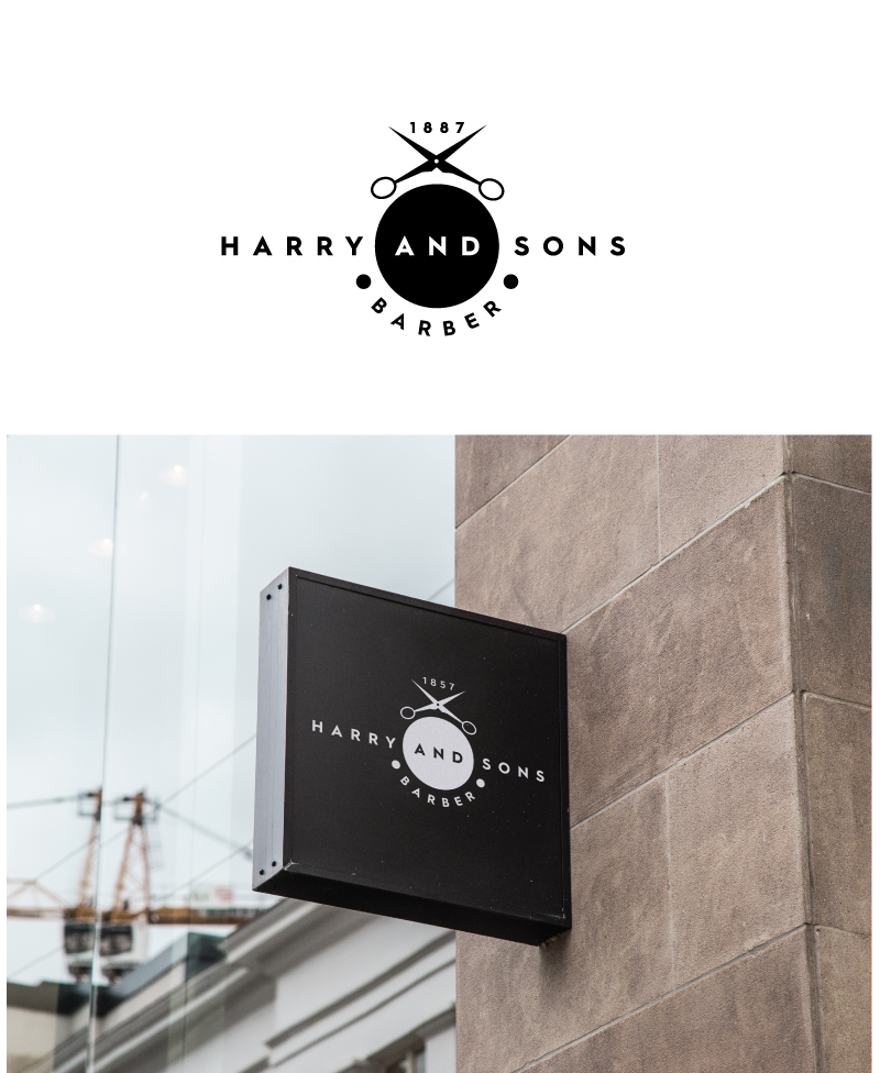Logo Design by Tauhid Shaikh - Entry No. 199 in the Logo Design Contest Captivating Logo Design for Harry and Sons Barber.