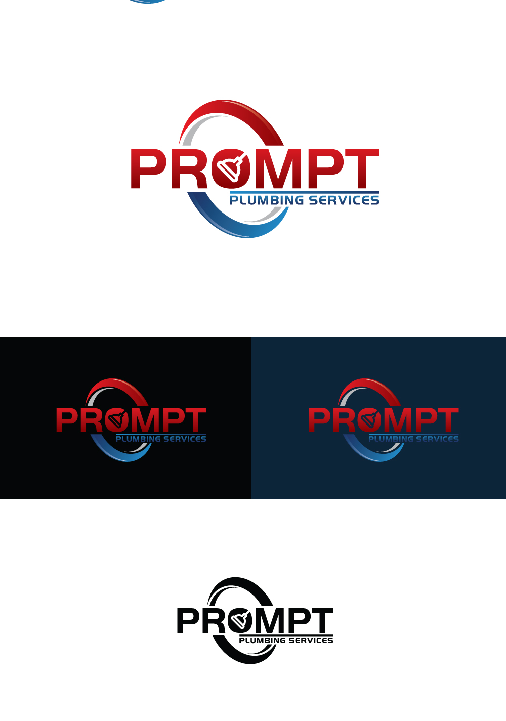 Logo Design by Tauhid Shaikh - Entry No. 17 in the Logo Design Contest Artistic Logo Design for Prompt Plumbing Services.