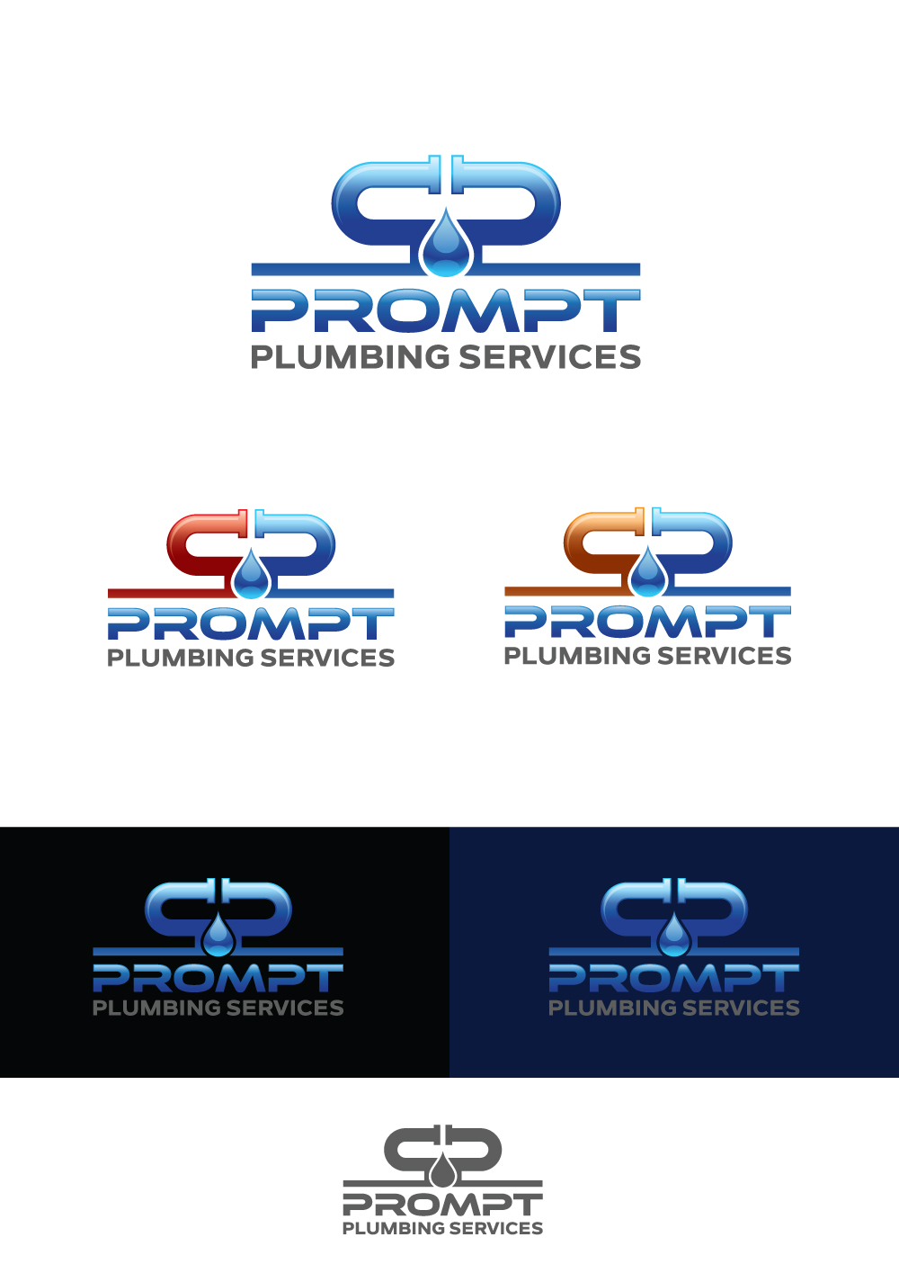 Logo Design by Tauhid Shaikh - Entry No. 35 in the Logo Design Contest Artistic Logo Design for Prompt Plumbing Services.