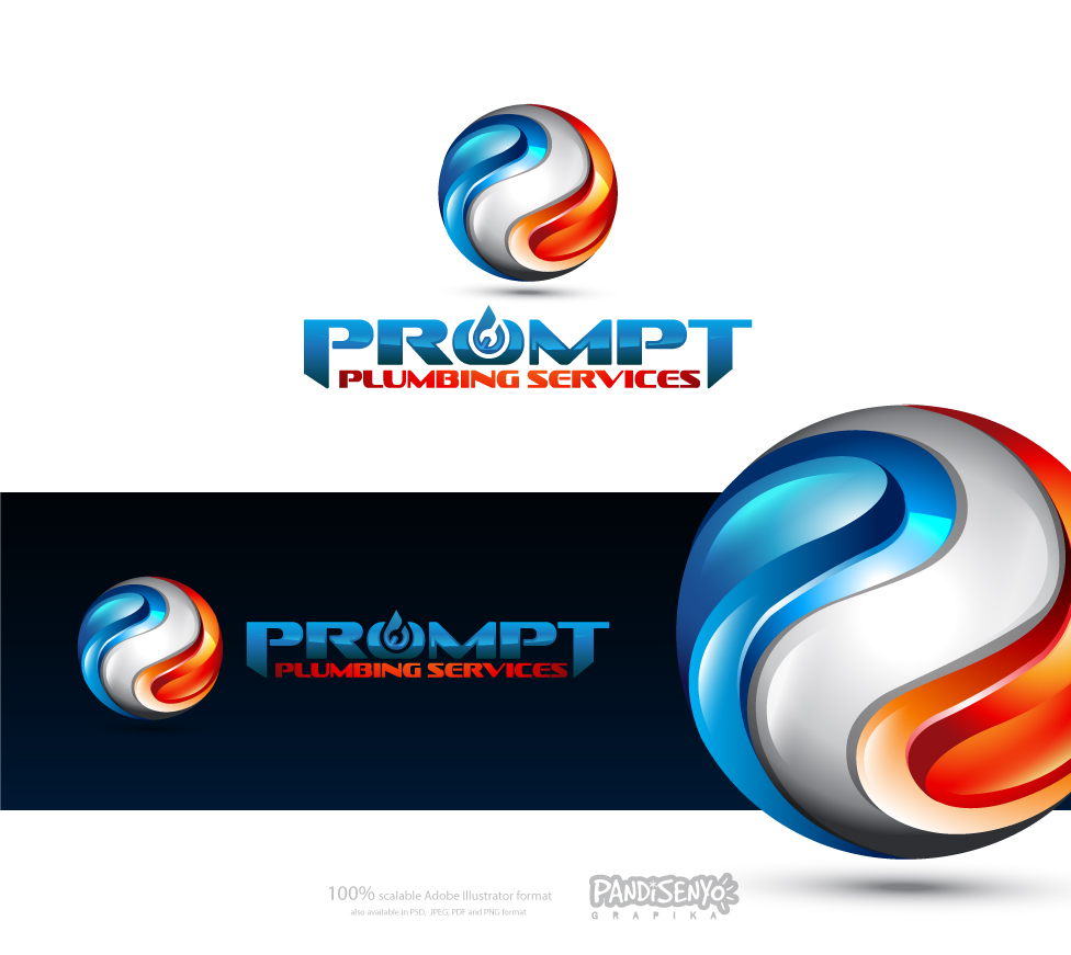 Logo Design by pandisenyo - Entry No. 44 in the Logo Design Contest Artistic Logo Design for Prompt Plumbing Services.