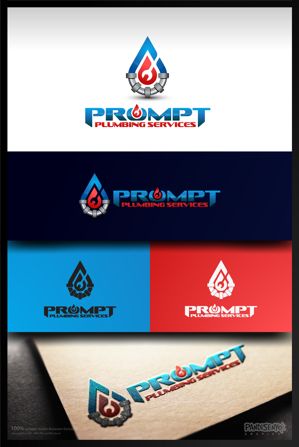Logo Design by pandisenyo - Entry No. 45 in the Logo Design Contest Artistic Logo Design for Prompt Plumbing Services.