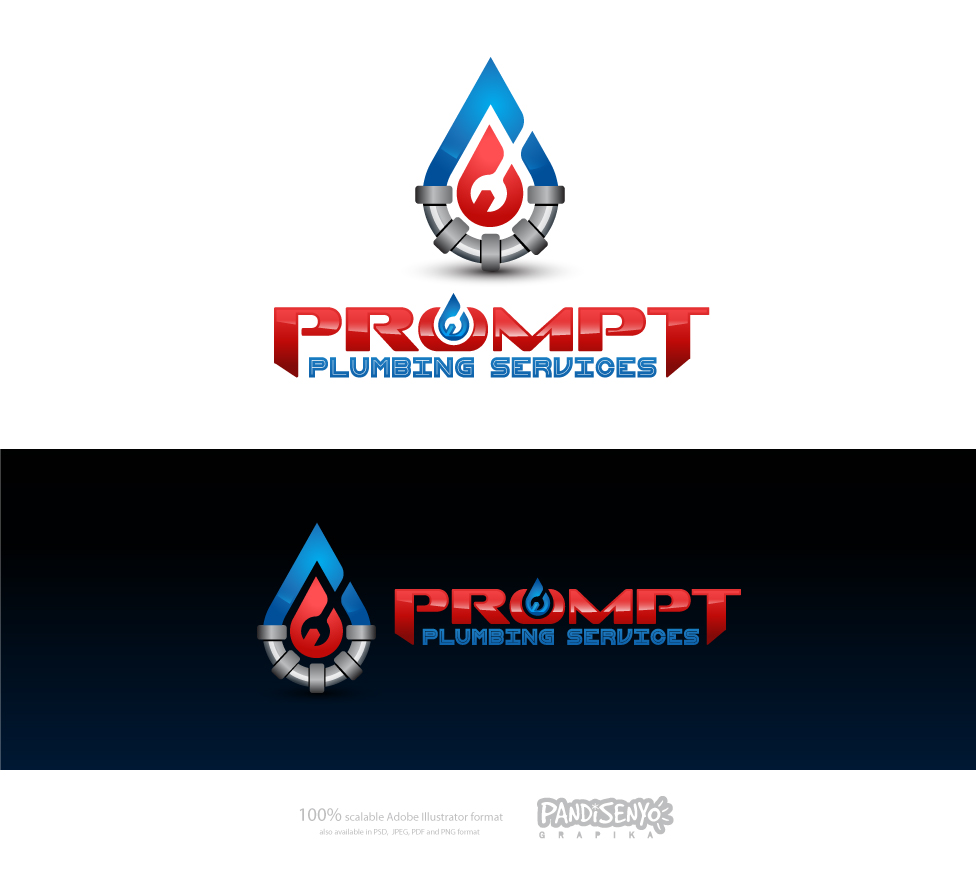 Logo Design by pandisenyo - Entry No. 52 in the Logo Design Contest Artistic Logo Design for Prompt Plumbing Services.