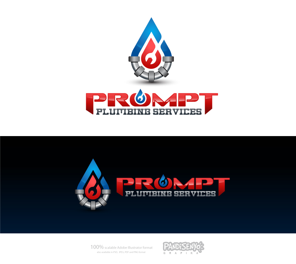 Logo Design by pandisenyo - Entry No. 53 in the Logo Design Contest Artistic Logo Design for Prompt Plumbing Services.