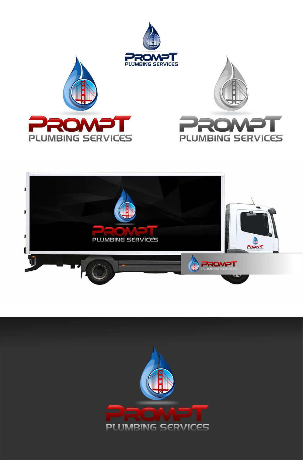 Logo Design by Raymond Garcia - Entry No. 64 in the Logo Design Contest Artistic Logo Design for Prompt Plumbing Services.