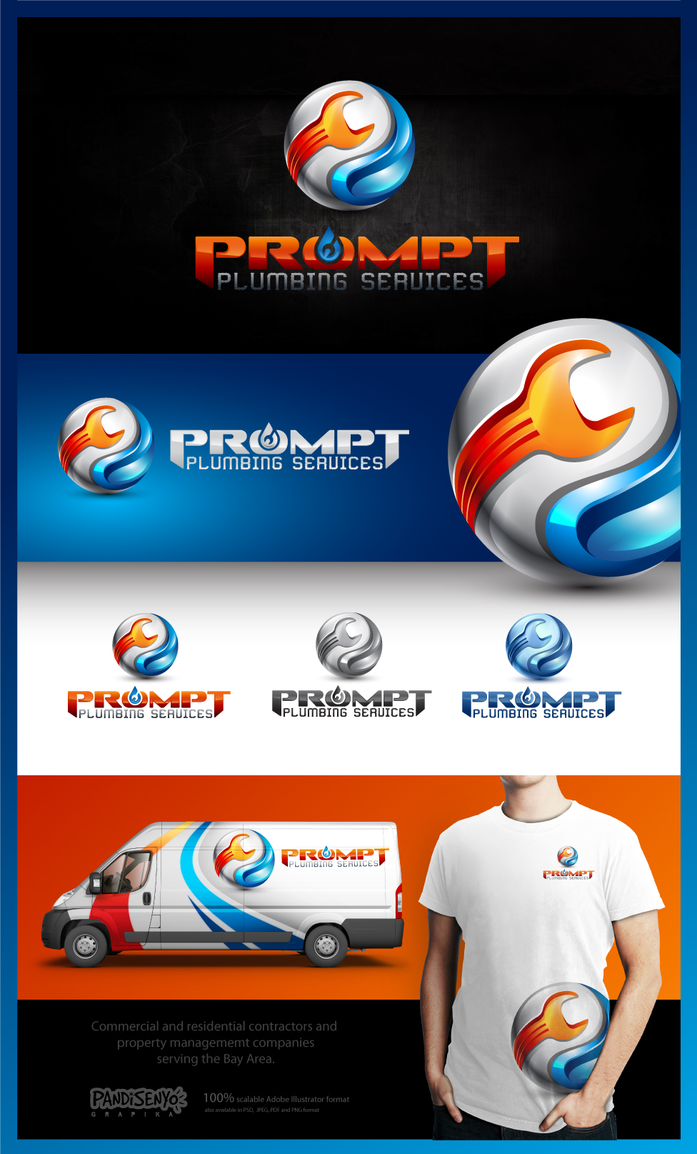 Logo Design by pandisenyo - Entry No. 83 in the Logo Design Contest Artistic Logo Design for Prompt Plumbing Services.
