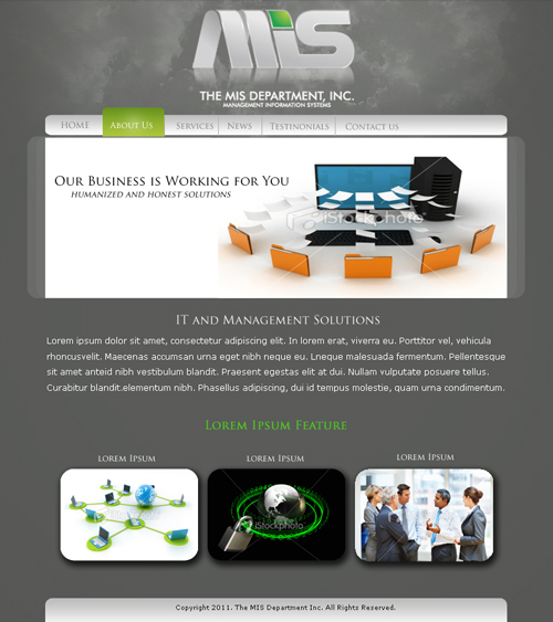 Web Page Design by keekee360 - Entry No. 3 in the Web Page Design Contest MIS (public website) – IT and Management consulting firm.