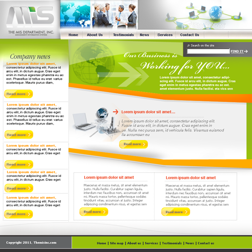Web Page Design by keekee360 - Entry No. 4 in the Web Page Design Contest MIS (public website) – IT and Management consulting firm.