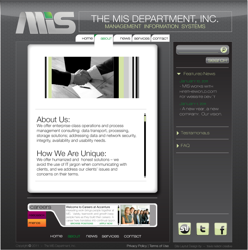 Web Page Design by trav - Entry No. 11 in the Web Page Design Contest MIS (public website) – IT and Management consulting firm.