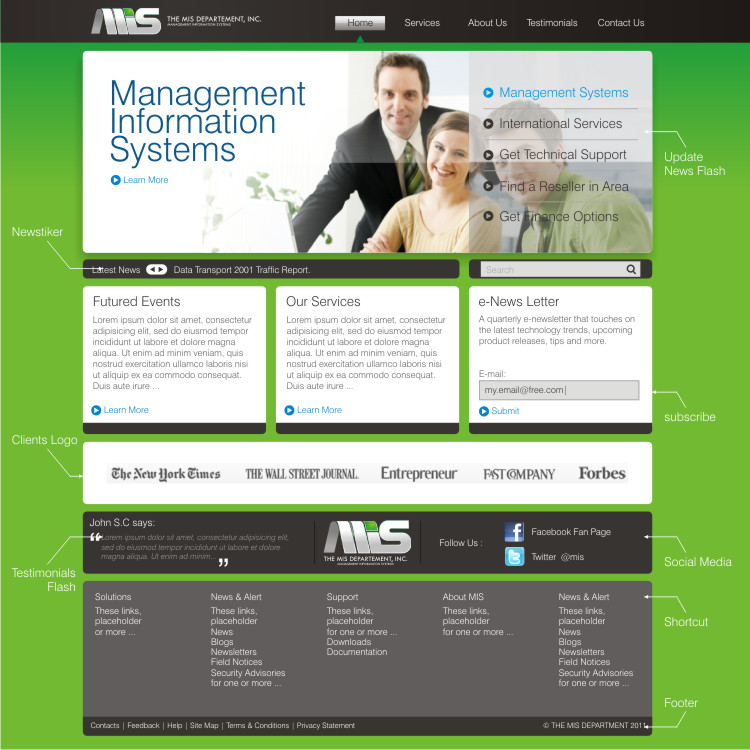 Web Page Design by Private User - Entry No. 13 in the Web Page Design Contest MIS (public website) – IT and Management consulting firm.