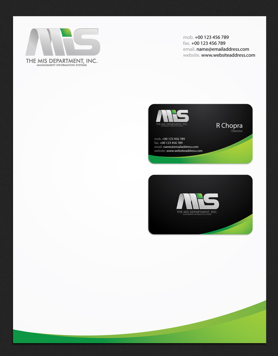 Business Card Design by Arslan Ali - Entry No. 33 in the Business Card Design Contest MIS Stationary.