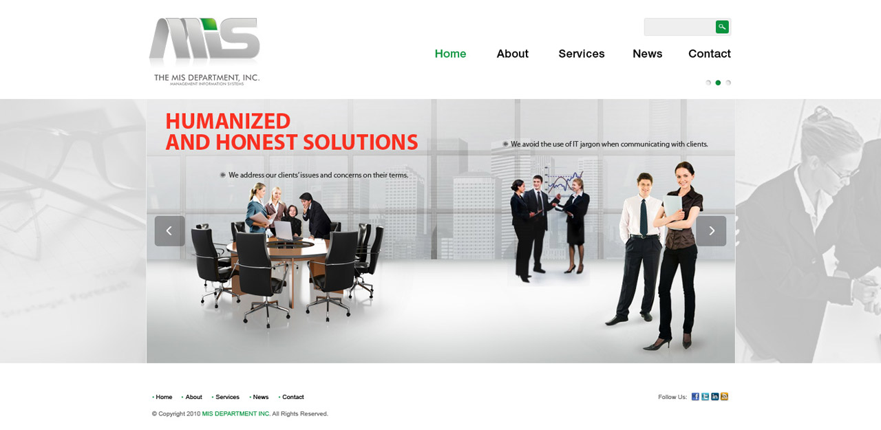 Web Page Design by tianstudio - Entry No. 24 in the Web Page Design Contest MIS (public website) – IT and Management consulting firm.