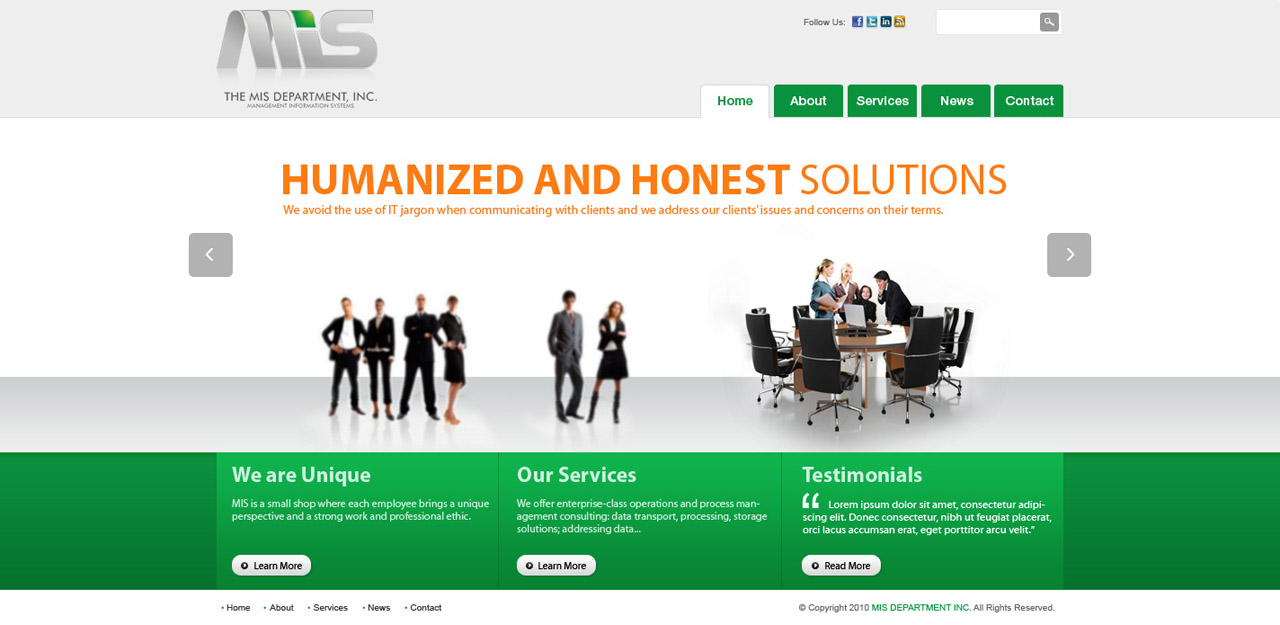 Web Page Design by tianstudio - Entry No. 26 in the Web Page Design Contest MIS (public website) – IT and Management consulting firm.