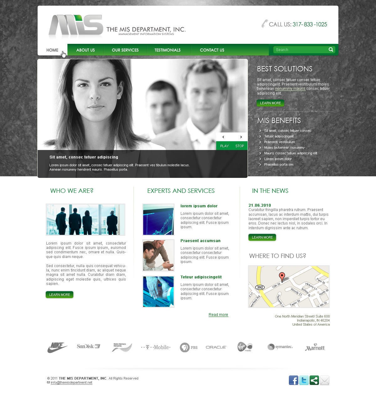 Web Page Design by John - Entry No. 27 in the Web Page Design Contest MIS (public website) – IT and Management consulting firm.