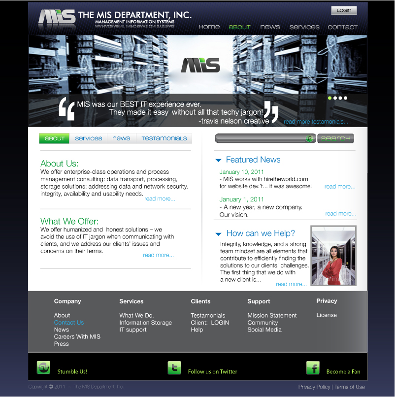 Web Page Design by trav - Entry No. 29 in the Web Page Design Contest MIS (public website) – IT and Management consulting firm.
