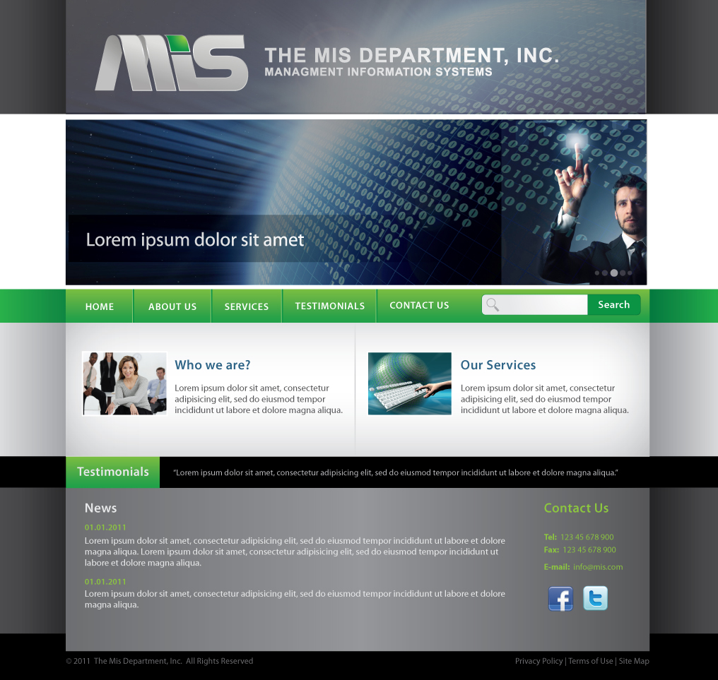 Web Page Design by melpomena - Entry No. 40 in the Web Page Design Contest MIS (public website) – IT and Management consulting firm.