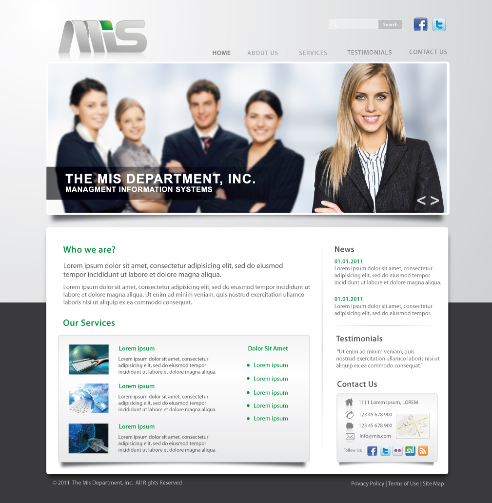 Web Page Design by melpomena - Entry No. 44 in the Web Page Design Contest MIS (public website) – IT and Management consulting firm.