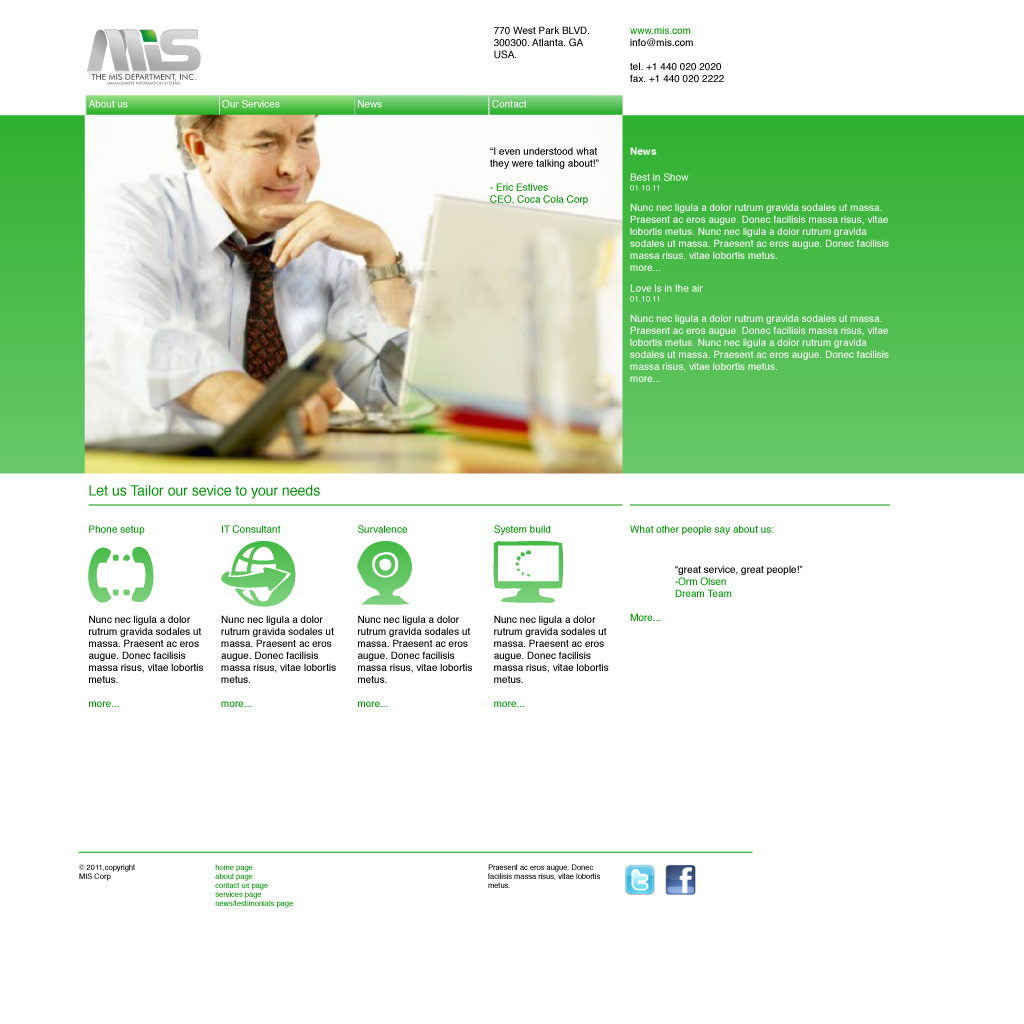 Web Page Design by Bergur Finnbogason - Entry No. 47 in the Web Page Design Contest MIS (public website) – IT and Management consulting firm.