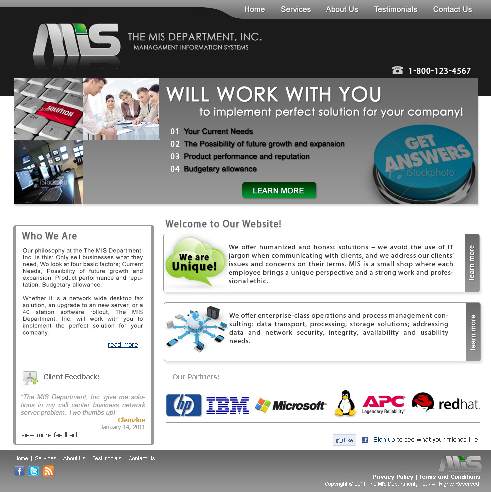 Web Page Design by clemzkie - Entry No. 51 in the Web Page Design Contest MIS (public website) – IT and Management consulting firm.
