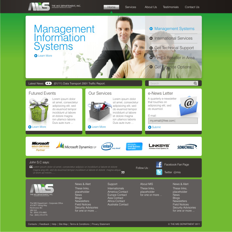 Web Page Design by Private User - Entry No. 55 in the Web Page Design Contest MIS (public website) – IT and Management consulting firm.