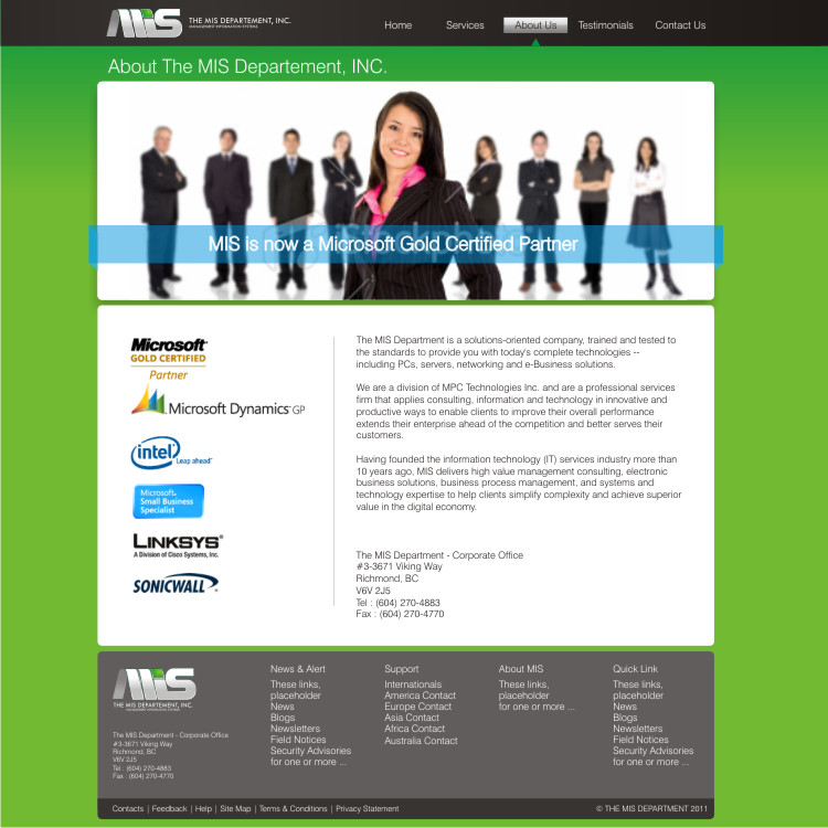 Web Page Design by Private User - Entry No. 57 in the Web Page Design Contest MIS (public website) – IT and Management consulting firm.