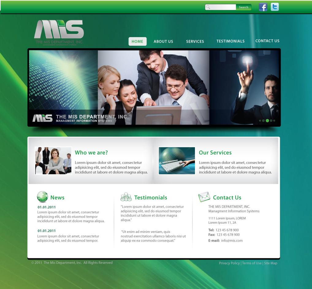 Web Page Design by melpomena - Entry No. 69 in the Web Page Design Contest MIS (public website) – IT and Management consulting firm.