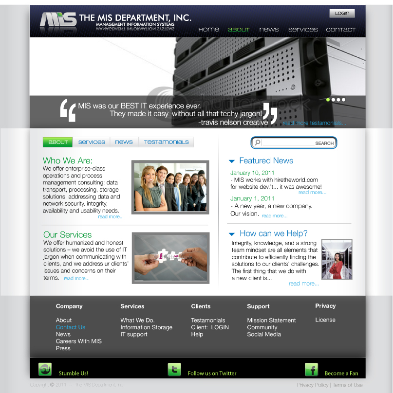 Web Page Design by trav - Entry No. 74 in the Web Page Design Contest MIS (public website) – IT and Management consulting firm.