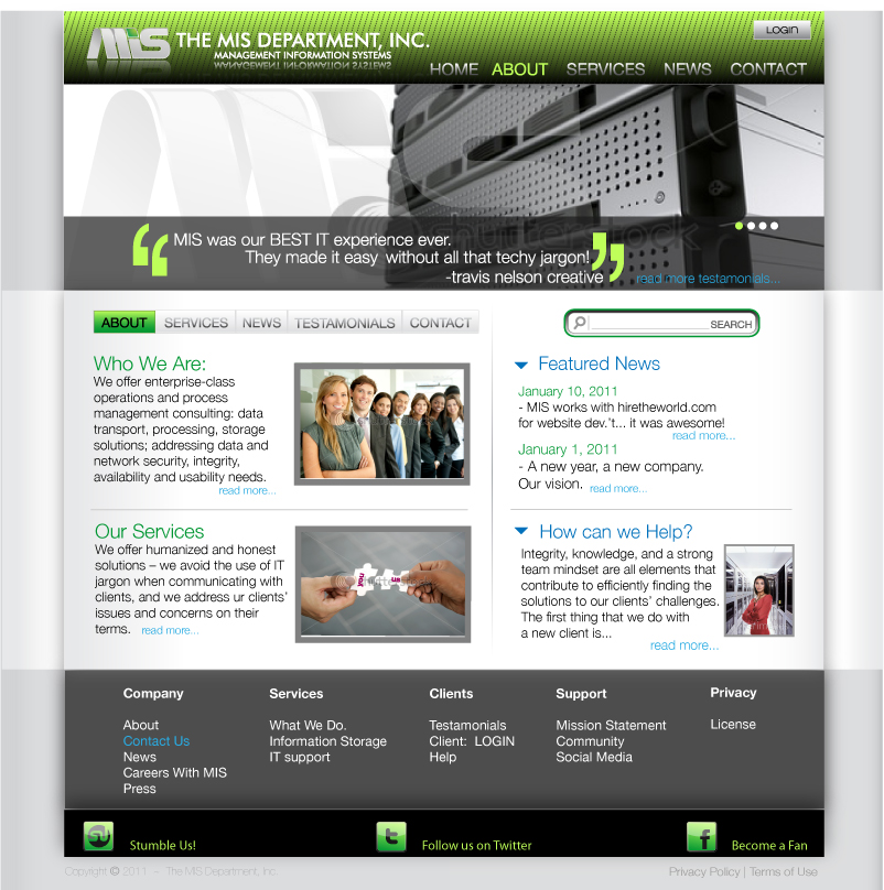 Web Page Design by trav - Entry No. 81 in the Web Page Design Contest MIS (public website) – IT and Management consulting firm.