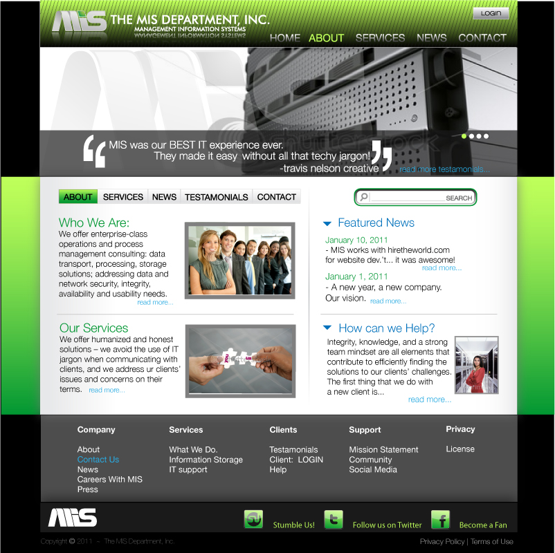 Web Page Design by trav - Entry No. 82 in the Web Page Design Contest MIS (public website) – IT and Management consulting firm.
