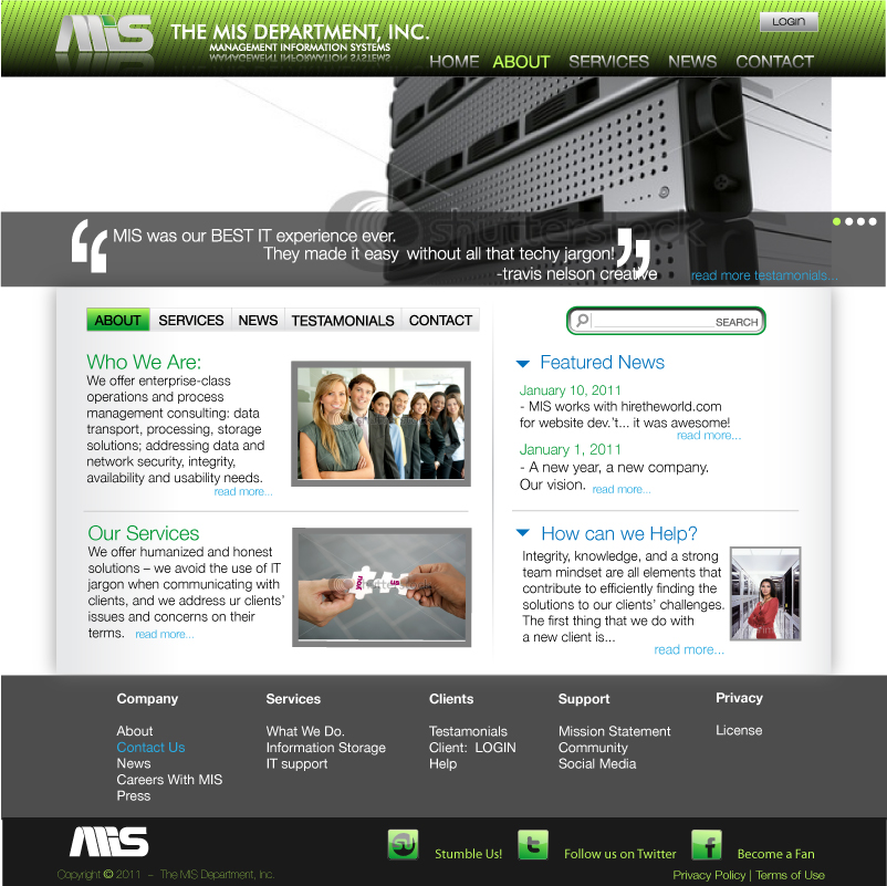 Web Page Design by trav - Entry No. 83 in the Web Page Design Contest MIS (public website) – IT and Management consulting firm.