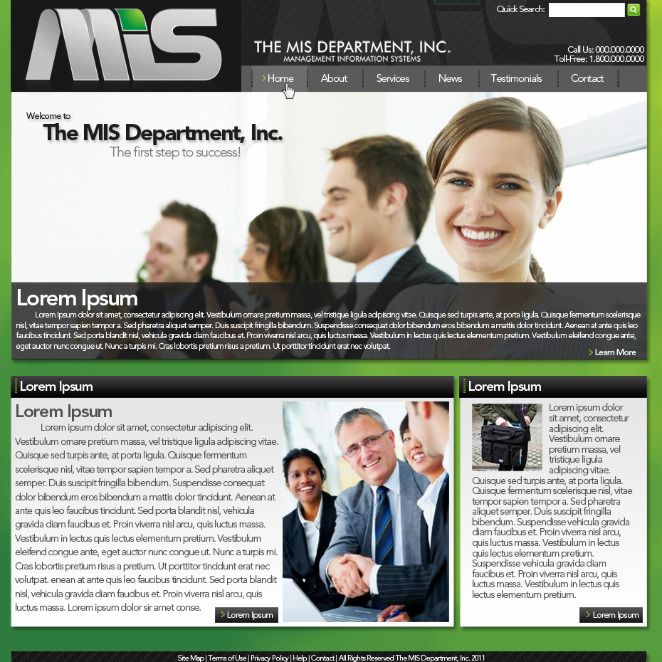 Web Page Design by bambino - Entry No. 85 in the Web Page Design Contest MIS (public website) – IT and Management consulting firm.