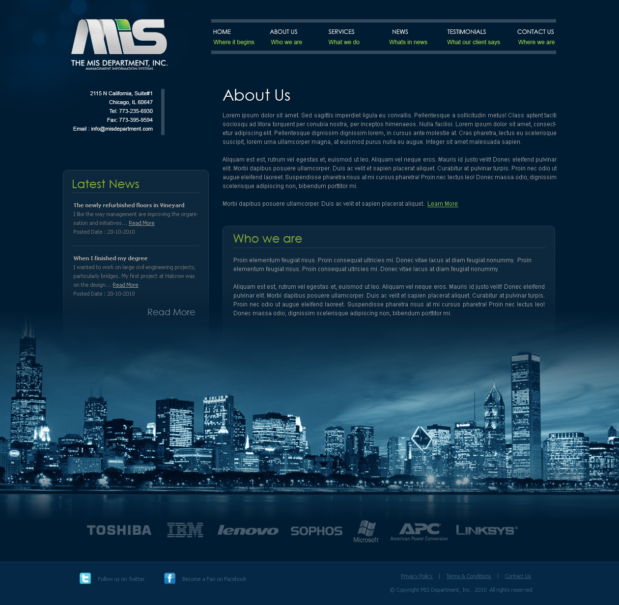 Web Page Design by Emad A Zyed - Entry No. 99 in the Web Page Design Contest MIS (public website) – IT and Management consulting firm.