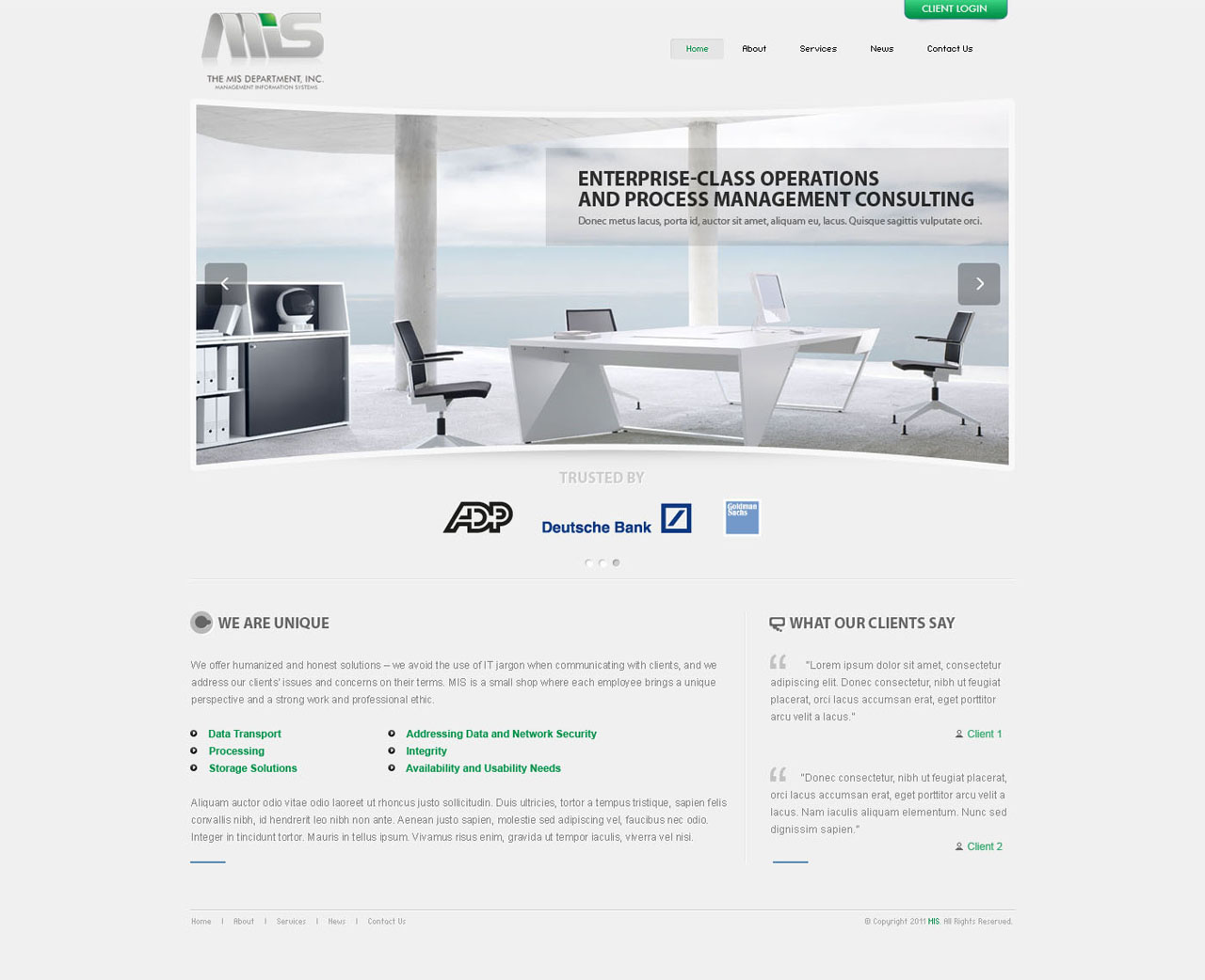 Web Page Design by tianstudio - Entry No. 104 in the Web Page Design Contest MIS (public website) – IT and Management consulting firm.