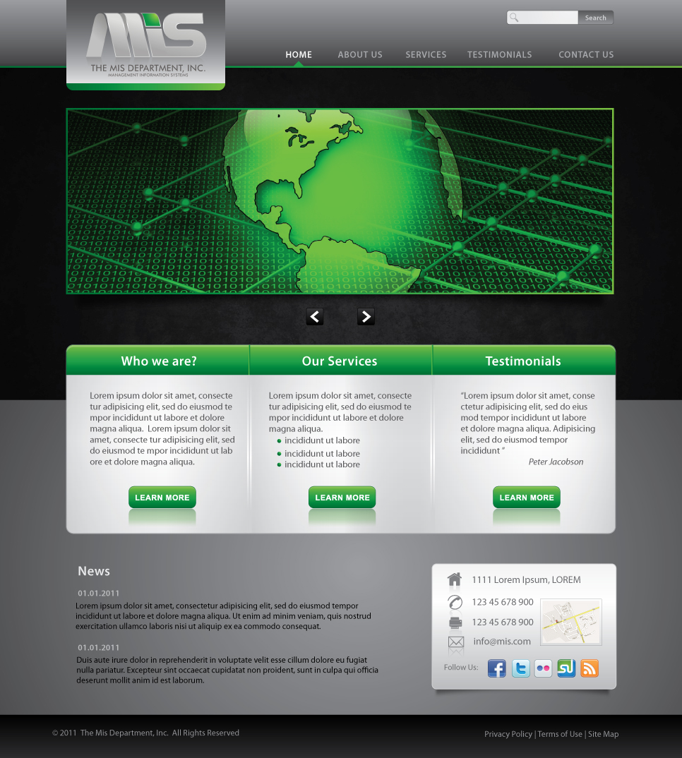 Web Page Design by melpomena - Entry No. 107 in the Web Page Design Contest MIS (public website) – IT and Management consulting firm.