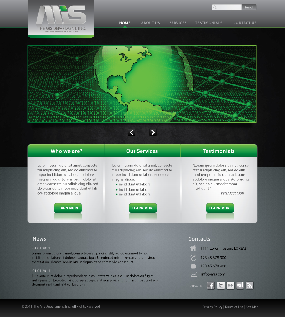 Web Page Design by melpomena - Entry No. 108 in the Web Page Design Contest MIS (public website) – IT and Management consulting firm.