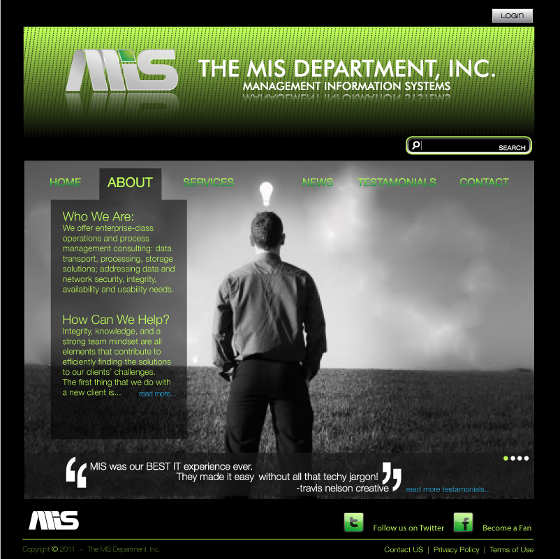 Web Page Design by trav - Entry No. 111 in the Web Page Design Contest MIS (public website) – IT and Management consulting firm.