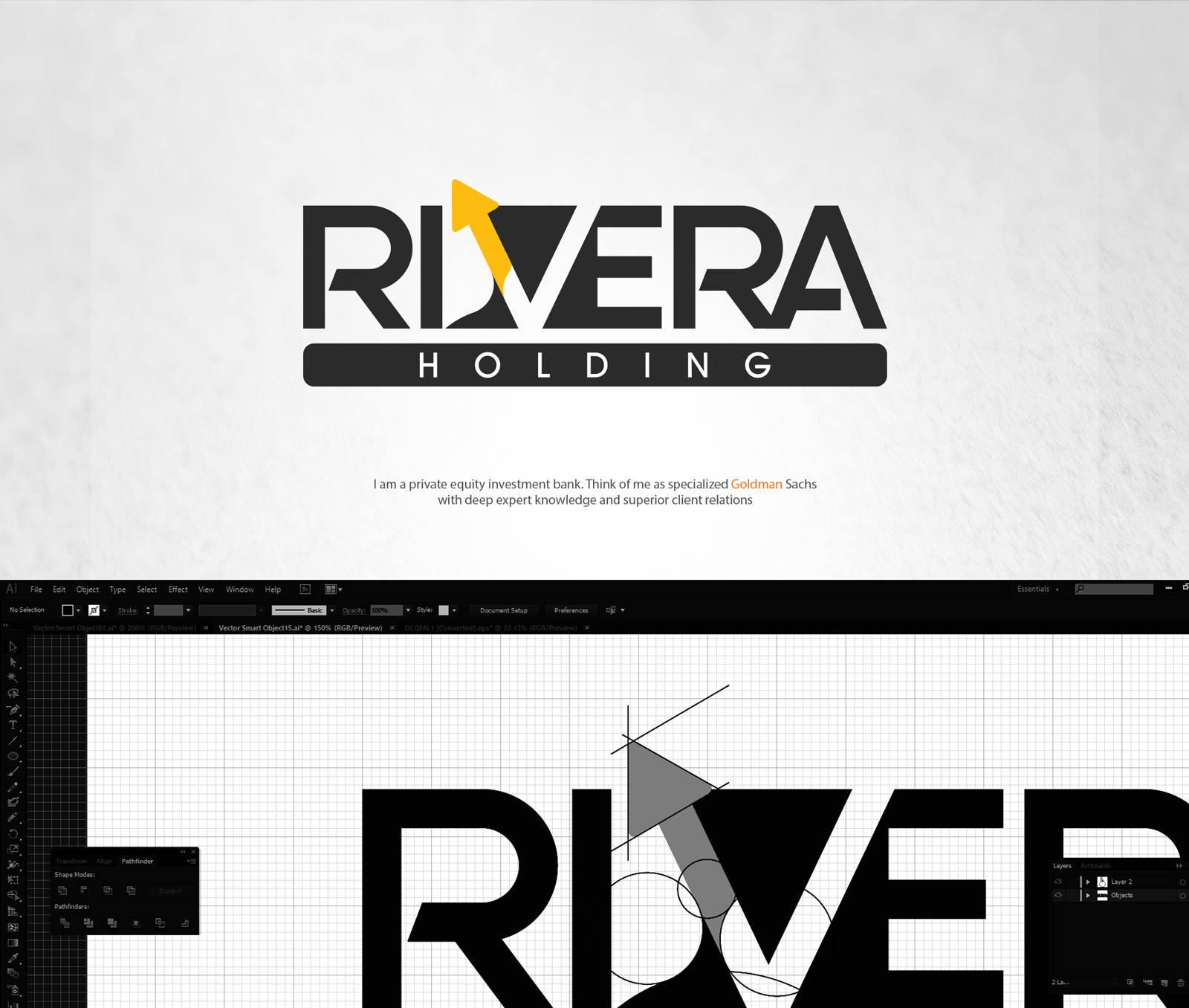 Logo Design by Mostafa Hegazy - Entry No. 51 in the Logo Design Contest RIVERA HOLDING Logo Design.
