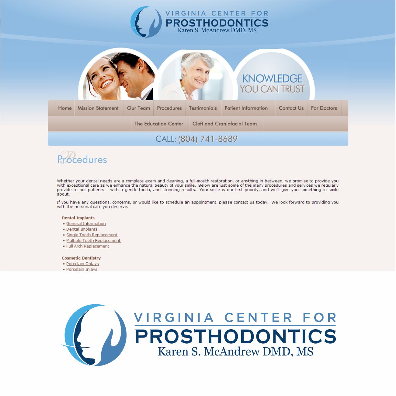 Logo Design by RasYa Muhammad Athaya - Entry No. 126 in the Logo Design Contest Imaginative Logo Design for Virginia Center for Prosthodontics.